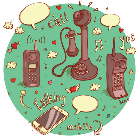 telephones: Telecommunications objects No.2. Set of 4 different telephones, signs, speech bubbles etc. isolated on background. Illustration  Illustration
