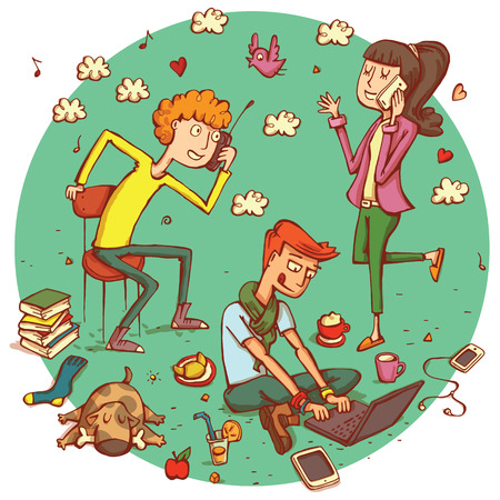 cartoon teenager: Telecommunications people No.13. Teenagers comunicating with each otheron gadgets, isolated on background. Illustration is in vector mode. Illustration