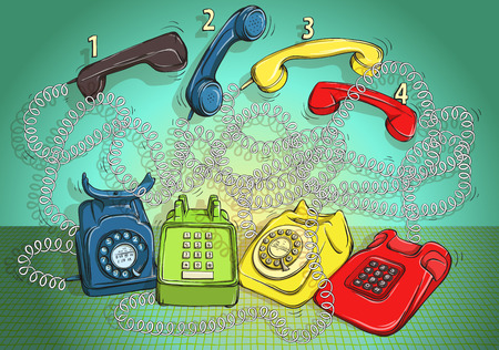 spiral cord: Telephone Wire Maze Game. Task: Connect each phone body with the right handset! Answer: 1-red, 2-green, 3-blue, 4-yellow. Illustration is in vector mode! Illustration