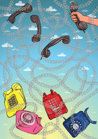 rope way: Telephone Wire Maze Game. Task: Find out which telephone is hand holding? Answer: pink one. Illustration is in eps10 vector mode! Illustration