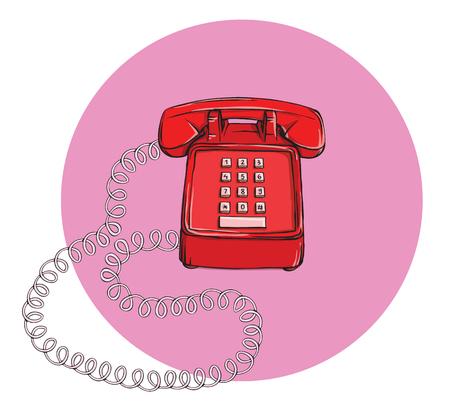 Vintage Telephone No.7, handset on. Illustration is in eps10 vector mode.