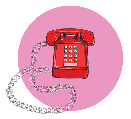phone isolated: Vintage Telephone No.7, handset on. Illustration is in eps10 vector mode.
