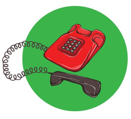 Vintage Telephone No.4, handset off. Illustration is in eps10 vector mode.