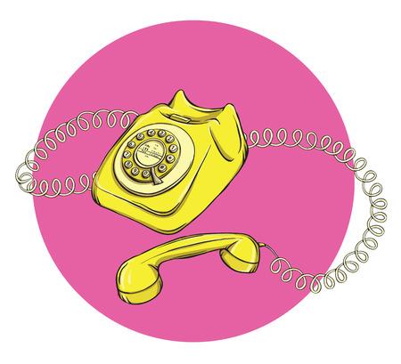 Vintage Telephone No.1, handset off. Illustration is in eps10 vector mode.