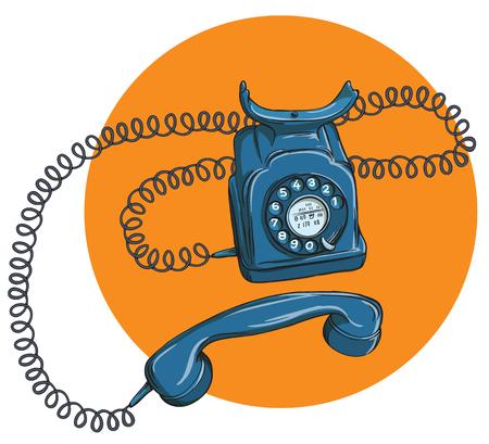 cable telefono: Teléfono N º 1 de la vendimia, auricular fuera. La ilustración es en modo vectorial eps10.