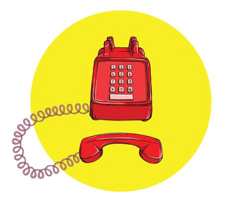 Vintage Telephone No.3, handset off. Illustration is in eps10 vector mode. 向量圖像