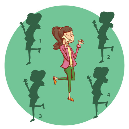 no1: Teenage Girl Telephone Shadow Visual Game. Find the right mirror shadow image! Solution No.1. Illustration is in eps10 vector mode, elements isolated.