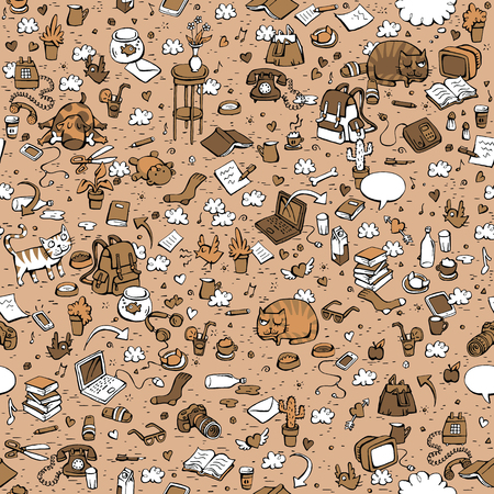 Technological Everyday Objects seamless pattern in three colors. Collection of various isolated objects and pets. Illustration is eps8 vector.