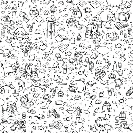 Technological Everyday Objects seamless pattern in black and white. Collection of various isolated objects and pets. Illustration is eps8 vector.