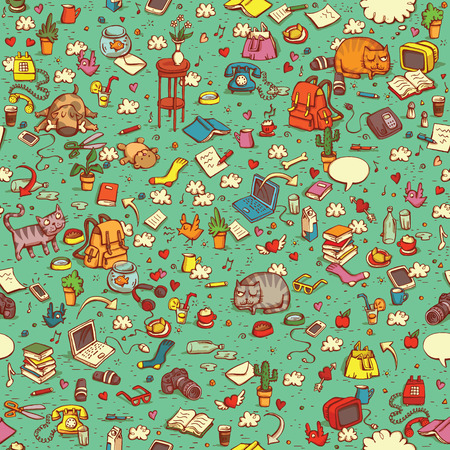 everyday: Technological Everyday Objects seamless pattern in colors. Collection of various isolated objects and pets. Illustration is eps10 vector, shadows in multiply mode.