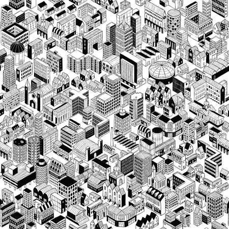 City Seamless Pattern is hand drawing of different building typologies. 向量圖像