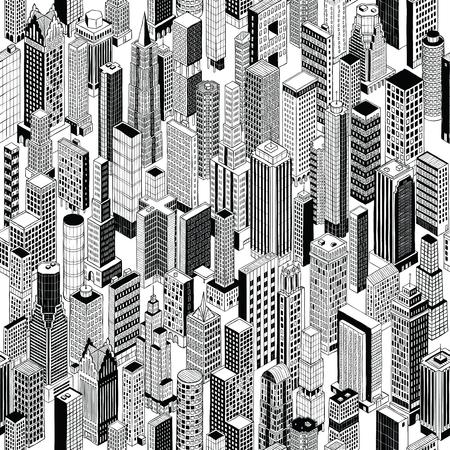 Patrón sin fisuras es rascacielos de dibujo a mano de diferentes edificios de gran altura en proyección isométrica.