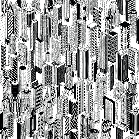 Skyscraper City Seamless Pattern is hand drawing of different high-rise buildings in isometric projection.