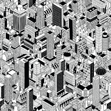 Generic City Seamless Pattern in isometric projection is hand drawing of different buildings (skyscrapers and low-rise).