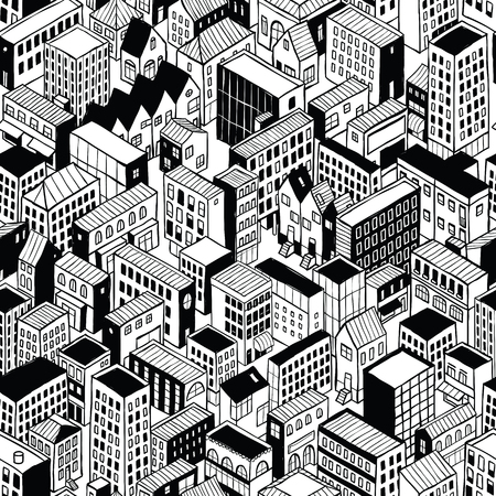 City Seamless Pattern (small) is isometric doodle drawing of different building's types.  イラスト・ベクター素材