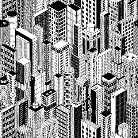 Skyscraper City Seamless Pattern (medium) is hand drawing of different high-rise buildings like Manhattan in isometric projection.