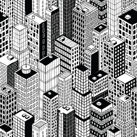 Skyscraper City Seamless Pattern (small) is hand drawing of different high-rise buildings like Manhattan in isometric projection.