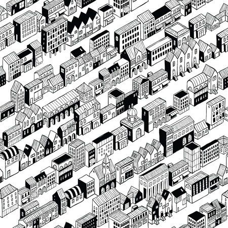 stretched: Row City Seamless Pattern is isometric doodle drawing, a string of different buildings stretched along the continuous line. Illustration