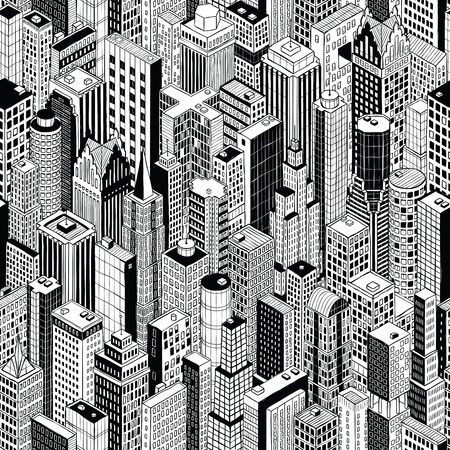Skyscraper City Seamless Pattern (large) is hand drawing of different high-rise buildings like Manhattan in isometric projection.
