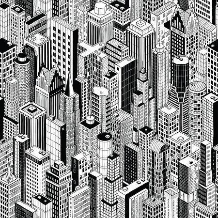 Wolkenkratzer Stadt nahtlose Muster (groß) ist Handzeichnung von verschiedenen Hochhäusern wie Manhattan in isometrischer Projektion.