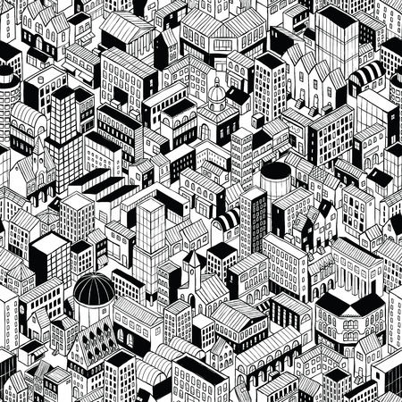 City Seamless Pattern is isometric doodle drawing of different buildings types. 向量圖像