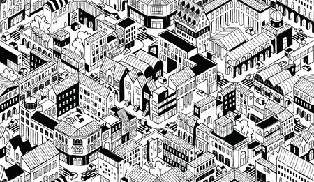 street life: City Urban Blocks Seamless Pattern Illustration