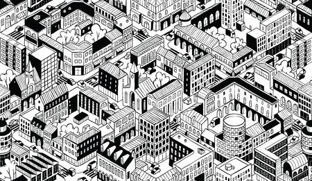 City Urban Blocks Seamless Pattern 向量圖像