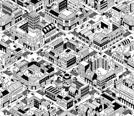 City Urban Blocks Seamless Pattern 일러스트