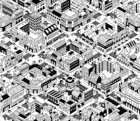 City Urban Blocks Seamless Pattern Illustration