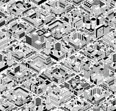 Stad Urban Blocks Seamless Pattern (Large) in isometrische projectie is met de hand tekenen met gesloten bouwblokken, binnenplaatsen, straten en het verkeer. Vector Illustratie