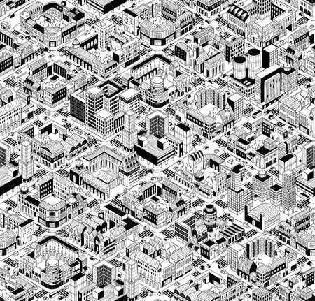 City Urban Blocks Seamless Pattern (Large) in isometric projection is hand drawing with perimeter blocks, courtyards, streets and traffic. Illustration