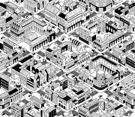 City Urban Blocks Seamless Pattern (Medium) in isometric projection is hand drawing with perimeter blocks, courtyards, streets and traffic.