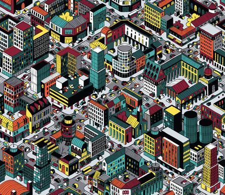 Kleurrijke Stad Blokken Isometrisch Naadloos Patroon Stock Illustratie