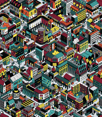city live: Colorful City Blocks Isometric Seamless Pattern Illustration