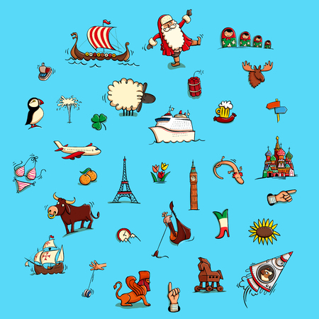 World Illustrations Set No. 3: Europe. Collection of characteristic illustrations. Illustration in eps10 vector, contains transparencies.