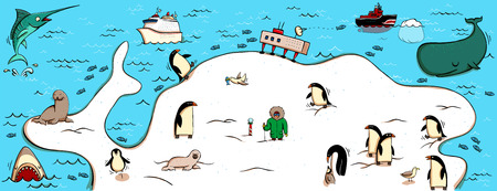 Illustrated Map of Antartica. With funny and typical objects, people, activities, animals, plants, history etc. Illustration in eps10 vector, continent on separate layer. 向量圖像