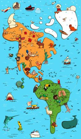Mapa ilustrado de Colorfull de Norte y Suramérica. Con objetos graciosos y tipical, personas, actividades, animales, plantas, etc historia Ilustración en eps10 vector.