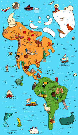 Illustrated Colorfull Map of North and South America. With funny and tipical objects, people, activities, animals, plants, history etc. Illustration in eps10 vector.