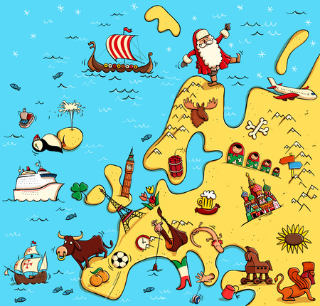 Illustrated Map of Europe. With funny and typical objects, people, activities, animals, plants, history etc. Illustration in eps10 vector, continent on separate layer. 向量圖像