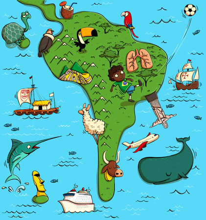 Illustrated Map of South America. With funny and typical objects, people, activities, animals, plants, history etc. Illustration in eps10 vector, continent on separate layer. Illustration