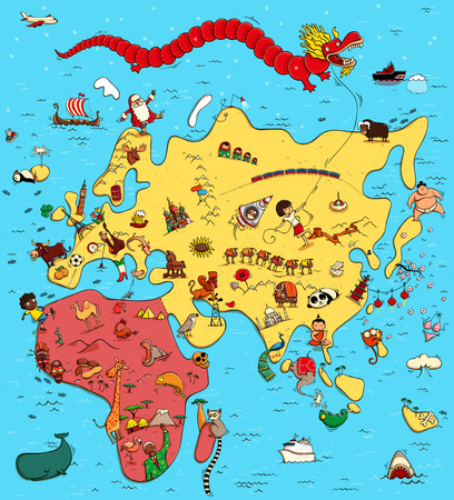 Illustrated Map of Europe, Asia and Africa. With funny and typical objects, people, activities, animals, plants, history etc. Illustration in eps10 vector, continents on separate layer.