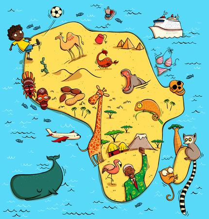 Mapa ilustrado de África. Con objetos divertidos y típicos, personas, actividades, animales, plantas, etc historia Ilustración en eps10 vector, continente en capa separada. Foto de archivo - 74498995