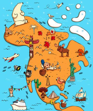 montañas caricatura: Mapa ilustrado de Norteamérica. Con objetos divertidos y típicos, personas, actividades, animales, plantas, etc historia Ilustración en eps10 vector, continente en capa separada.