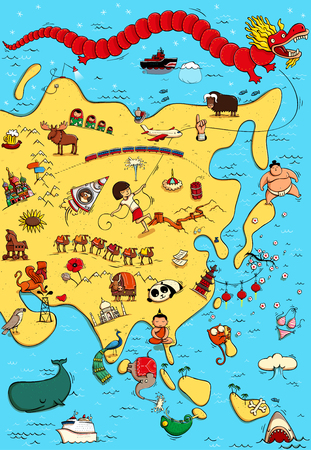 Illustrated Map of Asia. With funny and typical objects, people, activities, animals, plants, history etc. Illustration in eps10 vector, continent on separate layer. Illustration
