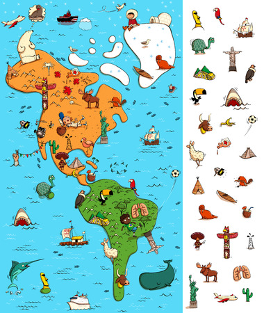 Map of America: Big Geography Visual Game. Locate isolated items (right margin) on a map. Illustration