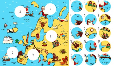 Geography Visual Game: Europe. Task: Find missing pieces. Illustration is in eps10 vector mode, solution in hidden layer. 向量圖像