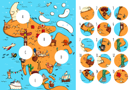 Geography Visual Game: North America. Task: Find missing pieces. Illustration is in eps10 vector mode, solution in hidden layer.
