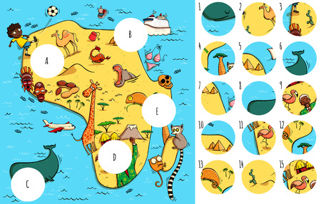 Geography Visual Game: Africa. Task: Find missing pieces. Illustration is in eps10 vector mode, solution in hidden layer. Stock Illustratie