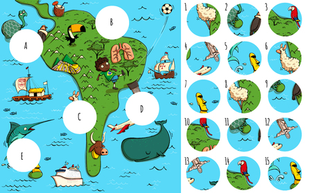 Geography Visual Game: South America. Task: Find missing pieces. Illustration is in eps10 vector mode, solution in hidden layer.
