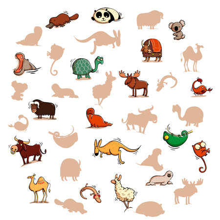 Fun Visual Game: Find the right mirror shadow of each item. Theme: Animals.  Illustration is in eps10 vector mode, elements are isolated.